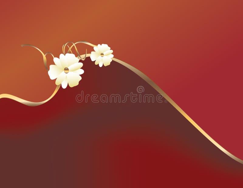 Rood gouden bloemontwerp royalty-vrije illustratie
