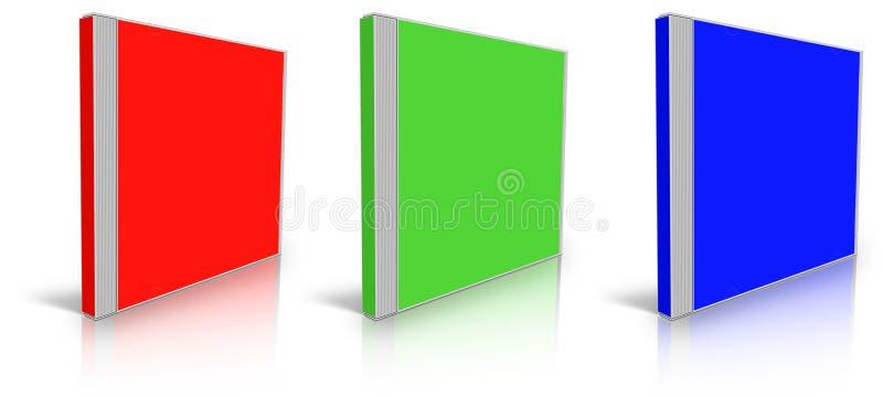 Rood, groen en blauw leeg CD-geval stock illustratie