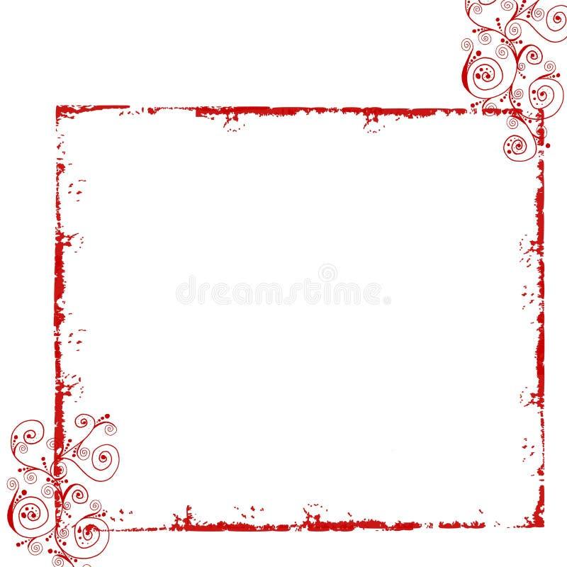 Rood grunge bloemenframe stock illustratie