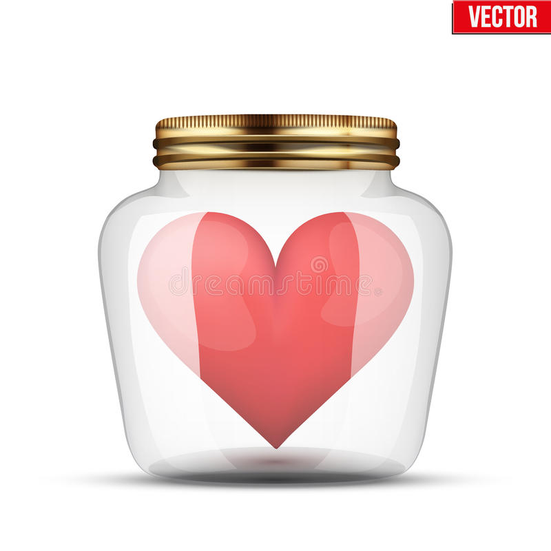 Rood hart binnen glaskruik stock illustratie