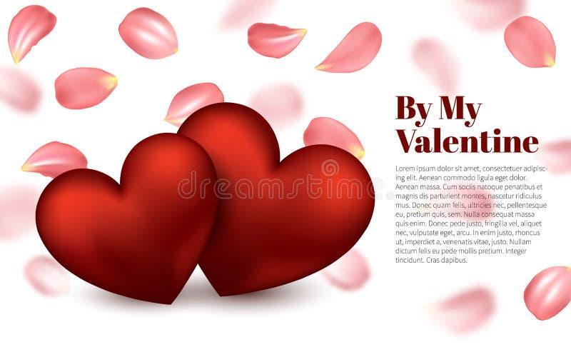 Rood hart Dalende Rose Petals Scattered op Witte Achtergrond Gelukkige de Dagkaart van Valentine s Het ontwerp van de valentijnsk stock illustratie