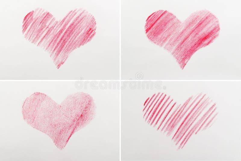 Rood hart dat op papier wordt getrokken royalty-vrije stock afbeeldingen