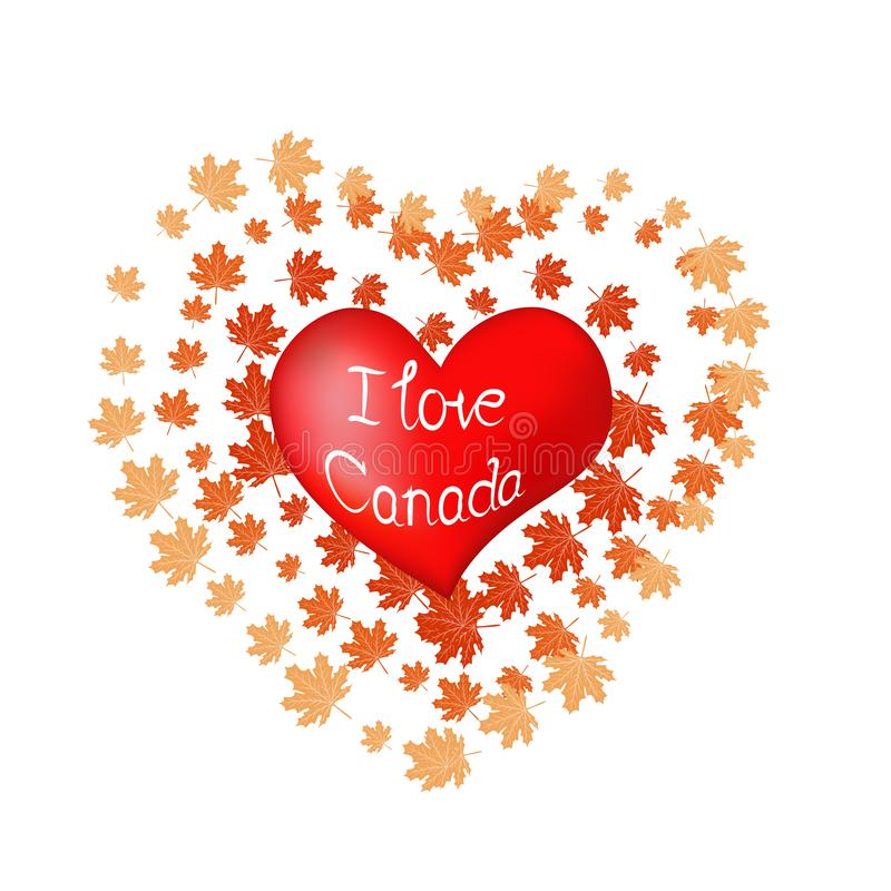 Rood hart en silhouet van de stad van Toronto, document stickers Valentine-kaart in document kunststijl stock illustratie