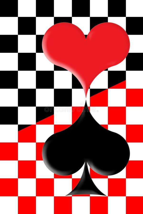 Rood hart en zwart hart royalty-vrije illustratie