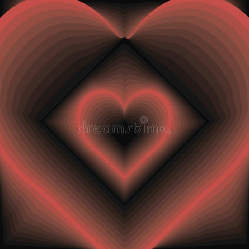 Rood hart en zwarte ruit die in elkaar stromen de vectorachtergrond van liefdespeelkaarten stock illustratie