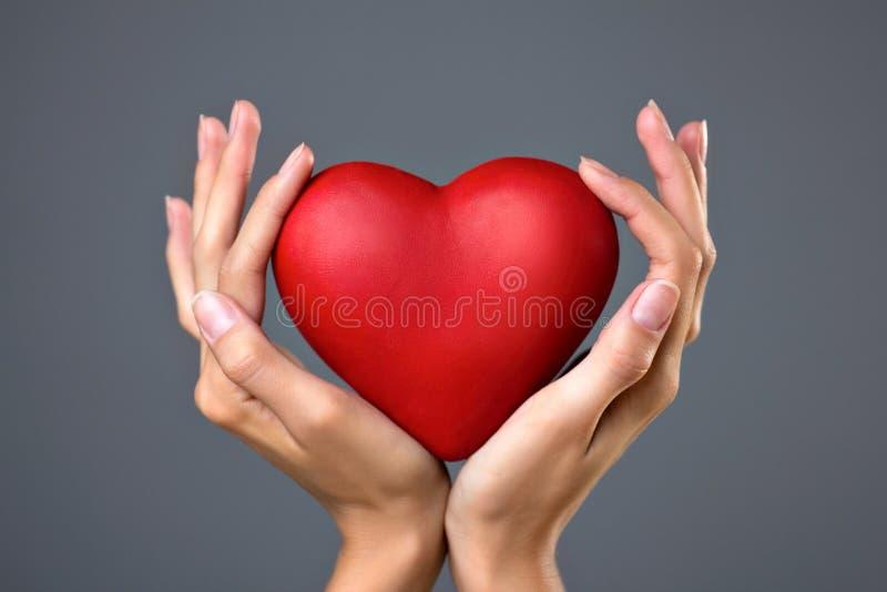 Rood hart in handen stock fotografie