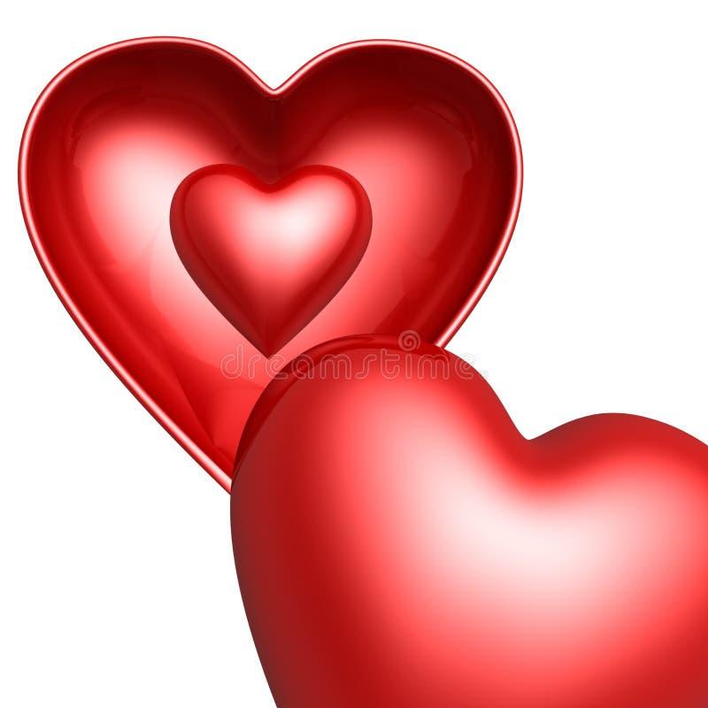 Rood hart in hartshell stock foto's