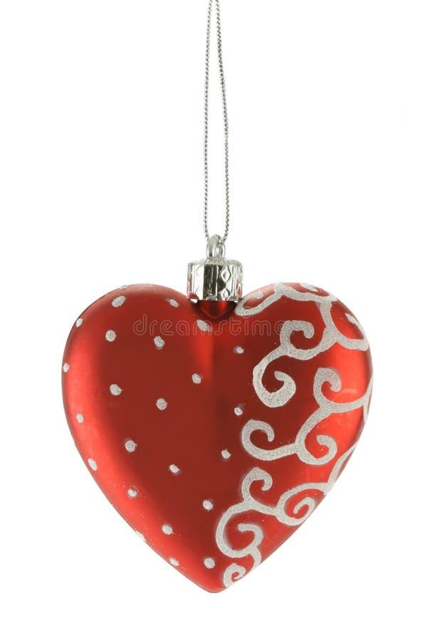 Rood hart - Kerstmisbal stock afbeeldingen