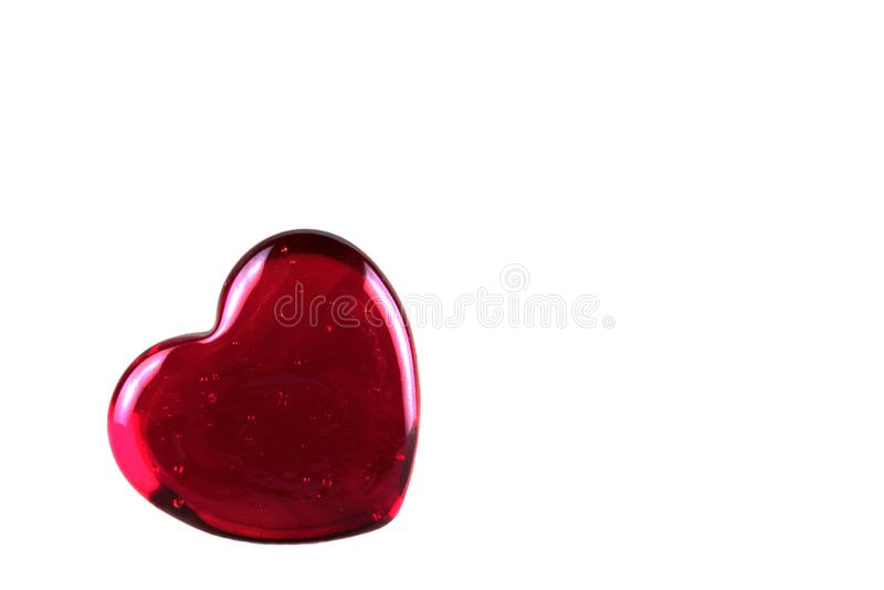Rood hart met binnen hoogtepunten en luchtbellen Geïsoleerd op wit stock afbeeldingen