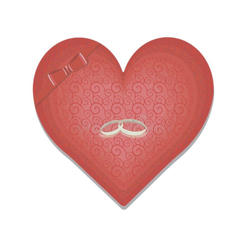 Rood hart met gevoelig patroon, rode die boog van lint en trouwringen op witte achtergrond worden geïsoleerd stock illustratie
