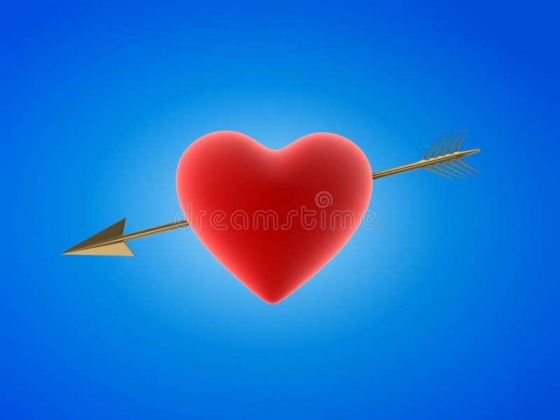 Rood hart met gouden pijl vector illustratie