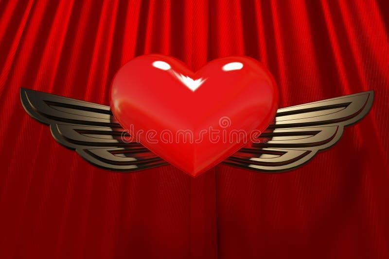 Rood hart met gouden vleugels royalty-vrije illustratie