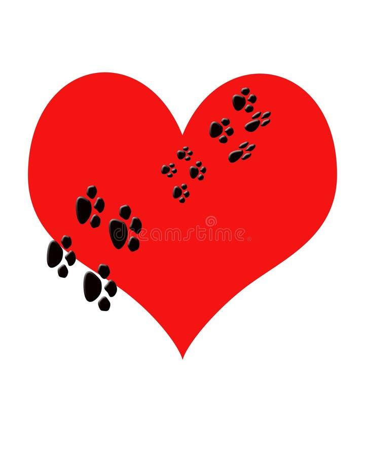 Rood hart met het af:drukken die van de puppyPoot door het lopen. Metafoor Pupp royalty-vrije illustratie