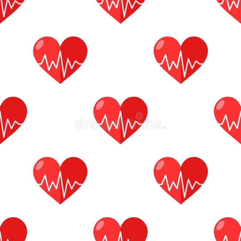 Rood Hart met Naadloos Elektrocardiogram vector illustratie