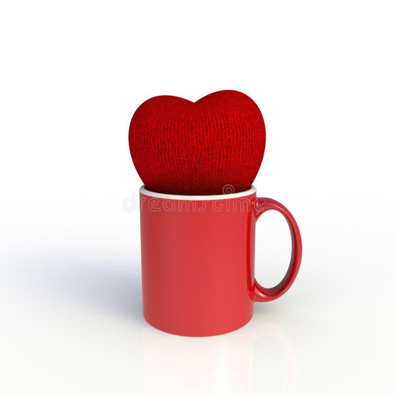 Rood hart met rode die koffiekop op witte achtergrond wordt geïsoleerd Spot op Malplaatje voor toepassingsontwerp De apparatuur v vector illustratie