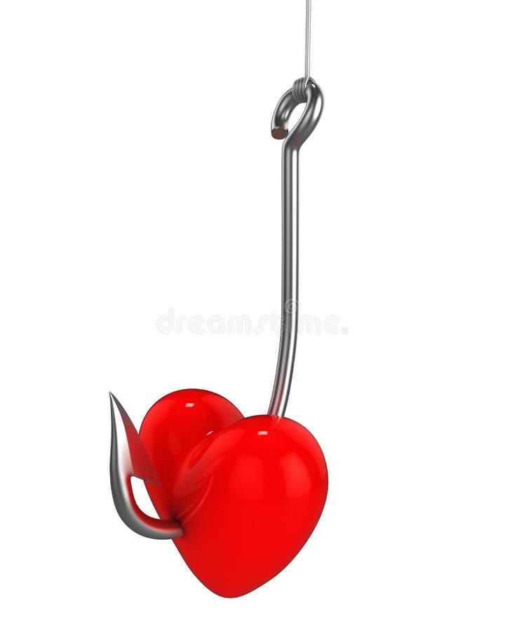 Rood hart op een visserijhaak stock illustratie