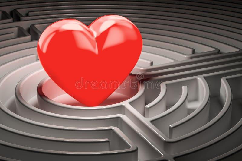 Rood hart op het centrum die van een labyrint, Liefdeconcept vinden 3d trek uit royalty-vrije illustratie