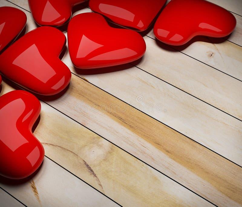 Rood hart op houten vloer vector illustratie