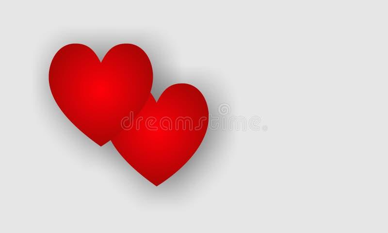Rood hart op witte achtergrond, Valentine-dagliefde, Valentijnskaartenachtergrond Vector illustratie royalty-vrije illustratie