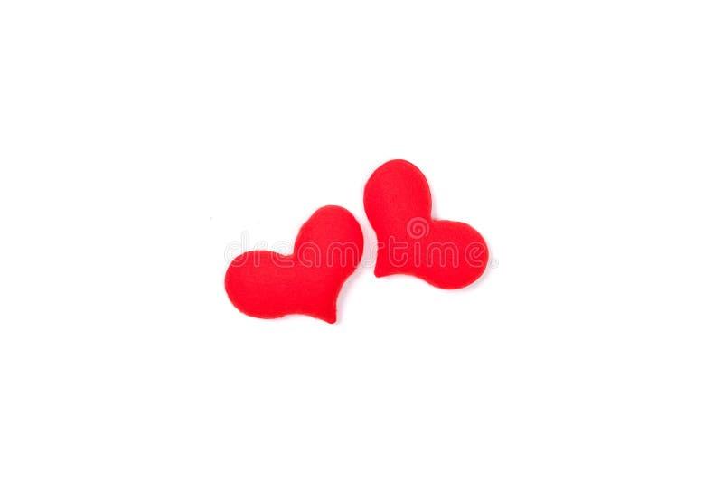 Rood hart op witte achtergrond van hoogste mening met ruimte voor exemplaar royalty-vrije stock foto