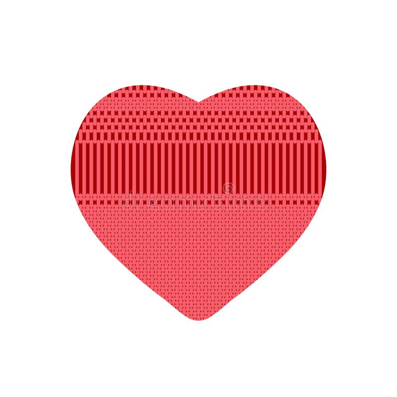 Rood hart van gebreid patroon vector illustratie