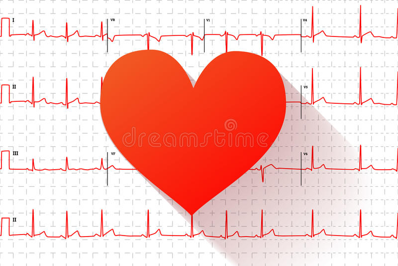 Rood hart vlak pictogram op typische menselijke elektrocardiogramgrafiek met tekens royalty-vrije illustratie