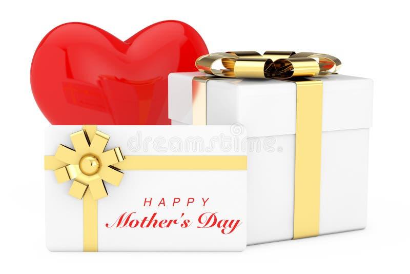 Rood Hart, Witte Cardoard-Giftdoos, Witte Giftkaart met het Gelukkige Teken van de Moedersdag en Gouden Lint met Boog het 3d teru stock illustratie