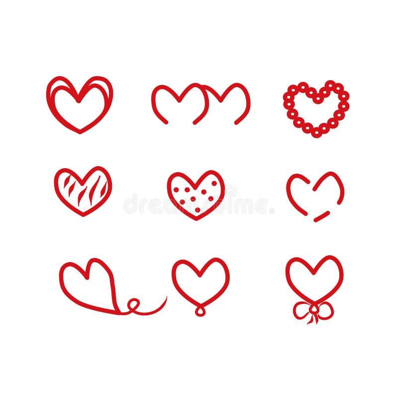 Rood hartsymbool van liefde, Valentine-vakantie Vlak pictogram De illustratie van het elementenembleem Overzichtsvoorwerp, vector stock illustratie