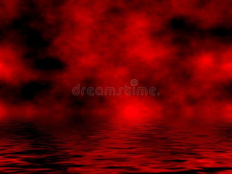Rood Hemel & Water royalty-vrije illustratie