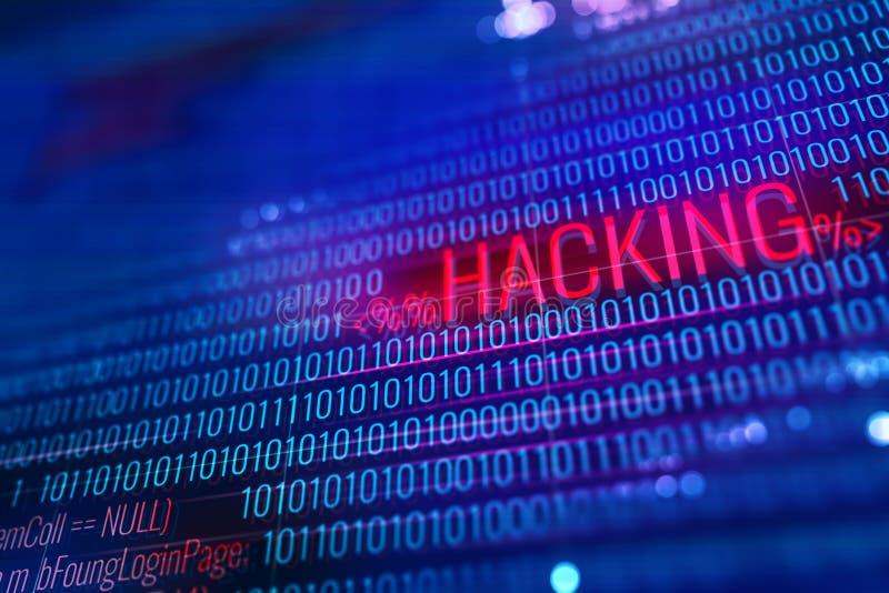 Rood het binnendringen in een beveiligd computersysteem woord stock illustratie