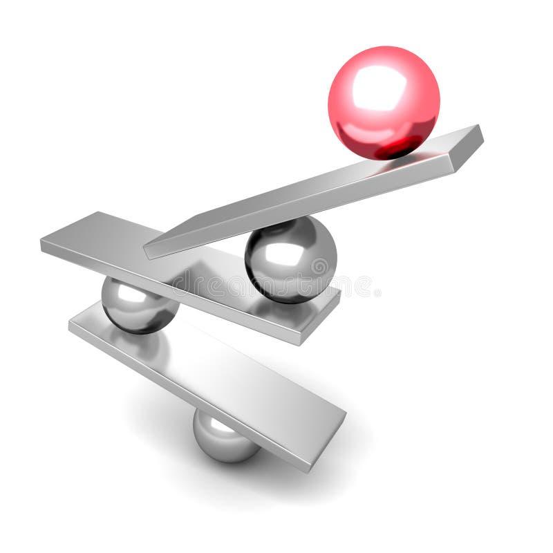 Rood het Conceptenteam van Leiderssphere on balance stock illustratie