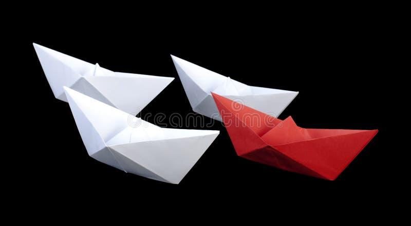 Rood het document van de winnaar schip stock afbeelding