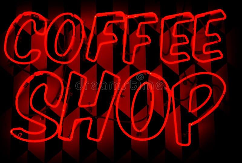Rood het neonteken van de koffiewinkel royalty-vrije stock fotografie