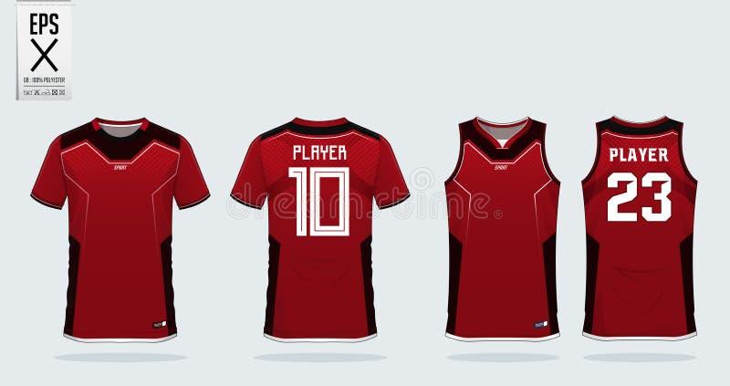 Rood het ontwerpmalplaatje van de t-shirtsport voor voetbal Jersey, voetbaluitrusting en mouwloos onderhemd voor basketbal Jersey stock illustratie