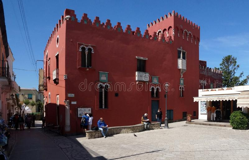 Rood Huis in Anacapri op Capri-Eiland, Italië royalty-vrije stock foto's