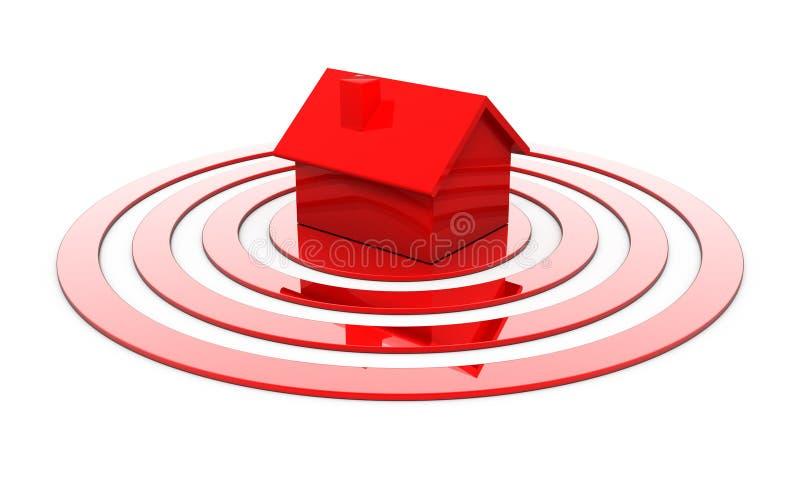 Rood huis in het centrum van het doel vector illustratie
