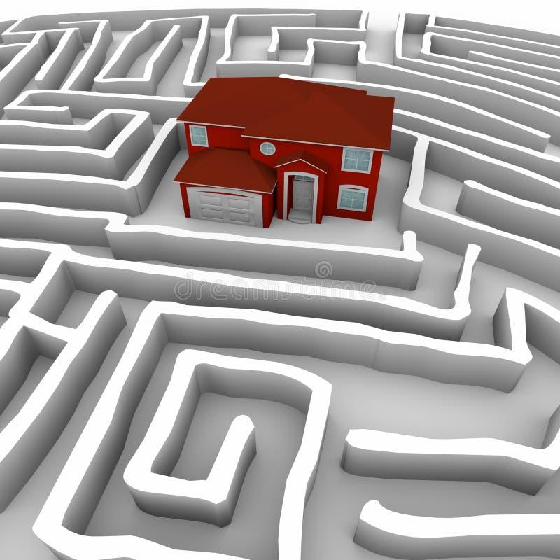 Rood Huis in Labyrint - vind Weg aan Eigendom stock illustratie