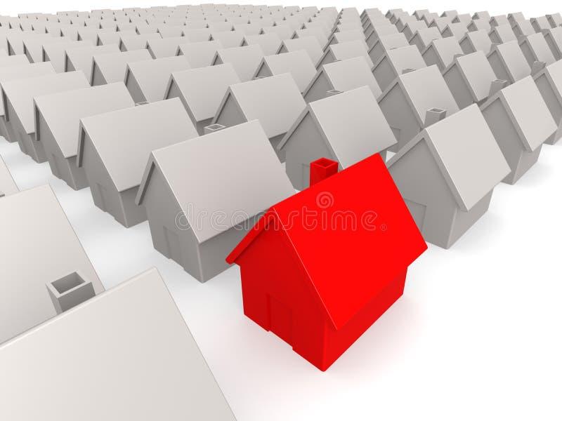 Rood huis in landgoed stock illustratie