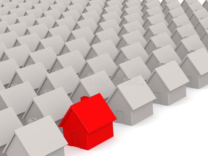 Rood huis in landgoed royalty-vrije illustratie
