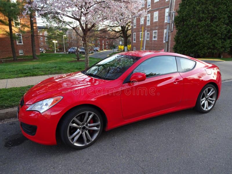 Rood Hyundai Genesis Coupe stock afbeelding
