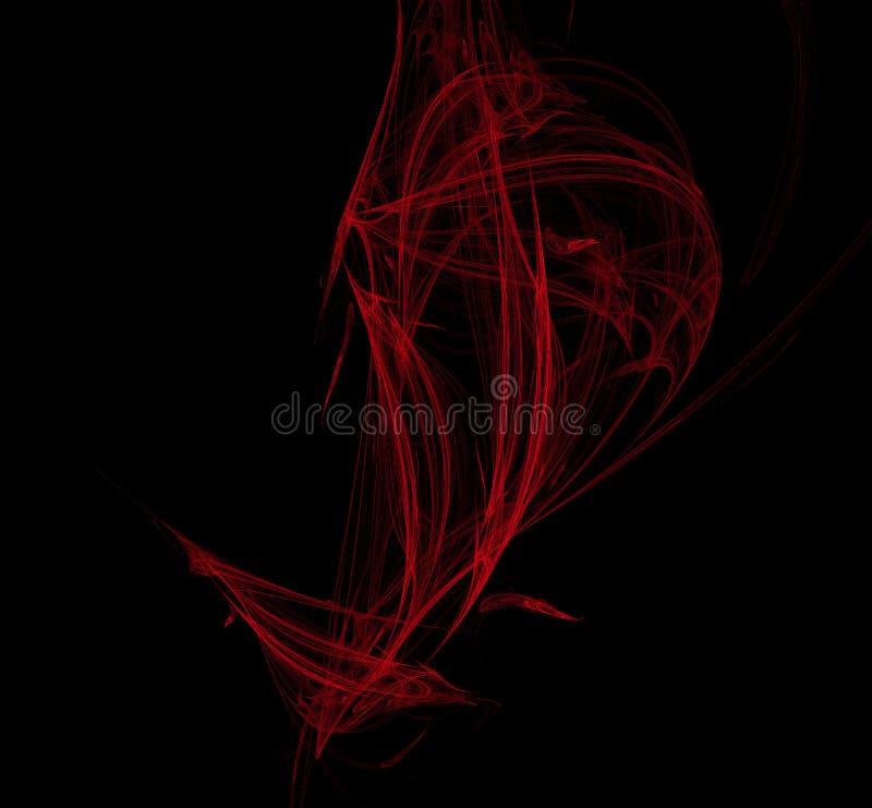 Rood illustratiepatroon op zwarte achtergrond Fantasiefractal textuur Digitaal art het 3d teruggeven Computer geproduceerd beeld vector illustratie
