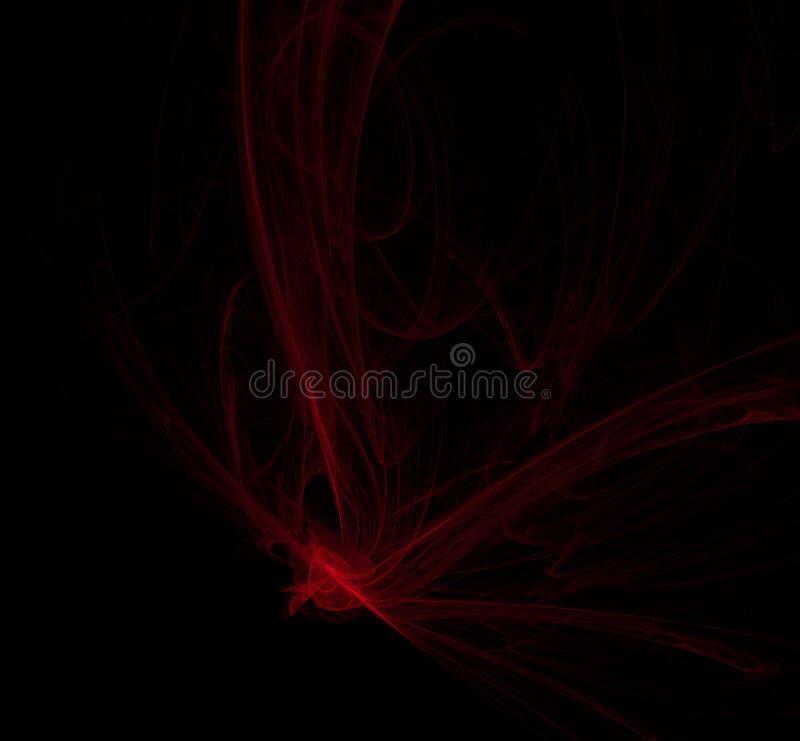 Rood illustratiepatroon op zwarte achtergrond Fantasiefractal textuur Digitaal art het 3d teruggeven Computer geproduceerd beeld stock illustratie