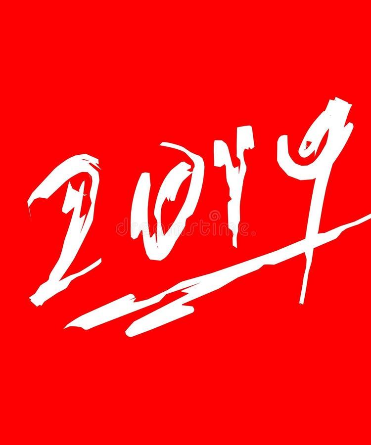 Rood jaar 2019 vector illustratie
