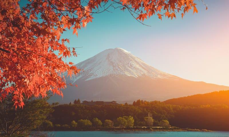 Rood kader van esdoornblad en MT Fuji, wijnoogst stock foto