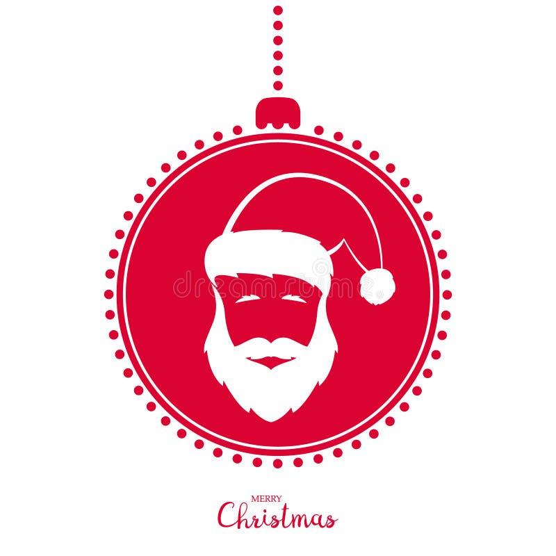 Rood Kerstboomstuk speelgoed met het beeld van Santa Claus royalty-vrije illustratie