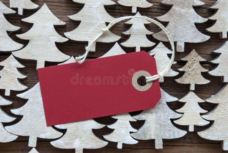 Rood Kerstmisetiket met Exemplaarruimte stock foto's
