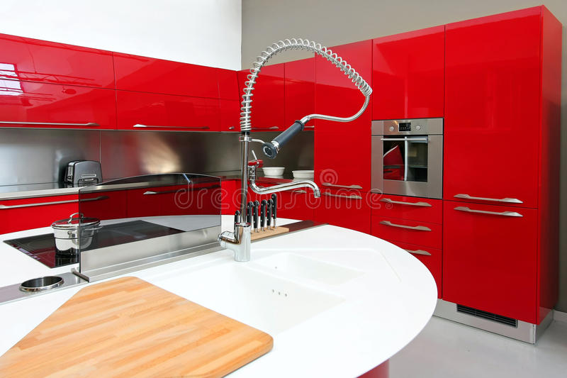 Rood keukendetail stock foto's