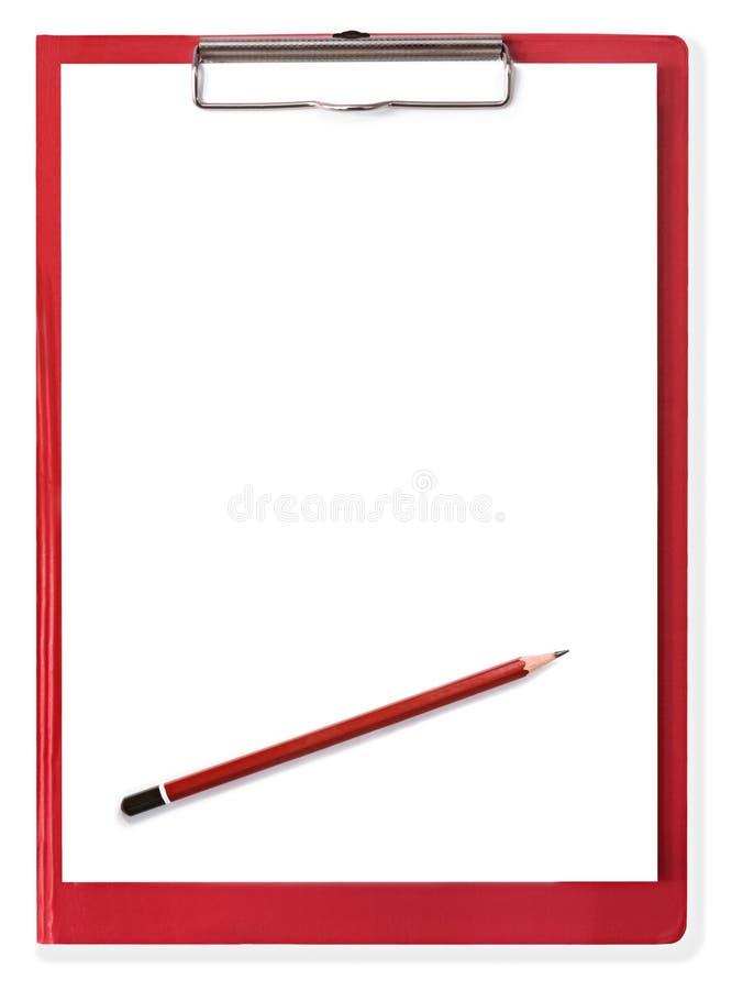 Rood Klembord met Leeg Document en Potlood stock foto's