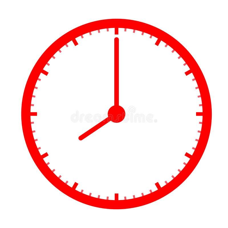 Rood klokpictogram op witte achtergrond klokteken Vlakke stijl rood klokpictogram voor uw websiteontwerp, embleem, app, UI tijdsy vector illustratie