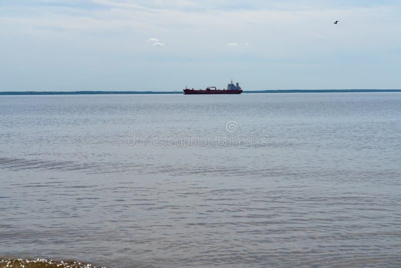 Rood koopvaardijschip met aan boord op zee containers De ruilende industrie stock afbeeldingen